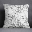 S4Sassy Cushion Cover Gray Leaf Printed Square Throw Pillow Case-PAR-SUB-SAS57A