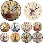 Classic Rustic Wooden Wall Clock Antique Shabby Chic Retro Home/Office Decor