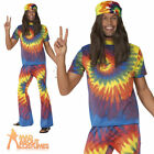 60s Tie Dye Costume Adult Groovy Babe Hippy Fancy Dress Mens Male Gents Outfit