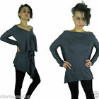 Girls long sleeve Top Tunic Jumper asymmetric Reversible Sized Lagenlook Sweater