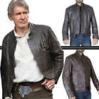 Han Solo Star Wars The Force Awakens Captain Harrison Ford Brown Leather Jacket $74.99 USD