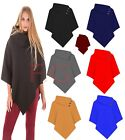 Ladies Women Girl Knitted Casual 3 Button Loose Neck Duster Cardigan Poncho Top