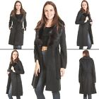 Womens Wool Coat Faux Fur Collar Belt Long Sleeve Knee Length Jacket Size 8 16