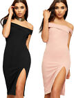 Womens Off Shoulder Party Dress Ladies Bardot Front Slit Sleeveless Bodycon 8-14