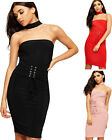 Womens Corset Belt Tie Bodycon Party Dress Ladies Choker Knee Length  New 8-14