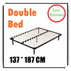 New Double Metal Bed Frame Black Bed Base Bedroom Furniture w/ Wooden Slat