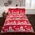 Red Reindeer Road Brushed Cotton Duvet/Quilt Cover With Pillow Cases