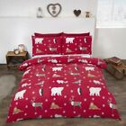 Red Winter Animals Brushed Cotton Duvet/Quilt Cover With Pillow Cases