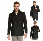 Men's Euro Slim Fit Wool Peacoat Jacket by Jack & Jones