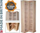 Solid Oak Bookcase, 205cm Tall V Shaped Traditional Corner Book Display Shelving
