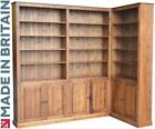 Large Solid Pine Corner Unit, 8ft Tall Display Library Shelving with Cupboards