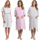Happy Mama. Women's Maternity Nursing Nightdress Robe Set Stripes Pattern. 190p