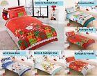 Christmas Xmas Single Quilt Duvet Cover & P/case Bed Set Santa Snowman REDUCED!
