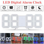 LED Digital Number Table Wall Clock Alarm Snooze Watches 12/24 Hours 3D Display