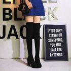Over Knee Thigh High Boots Pointed Toe Block Lace Up Suede High Heel Women Shoes