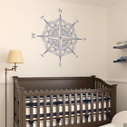 Mandala Compass Rose Vinyl Wall (or Ceiling) Decal - fits nautical nursery K691