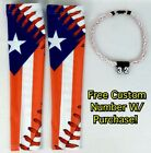 Sports Compression Arm Sleeves Puerto Rico Flag Baseball Stitch & Rope Necklace