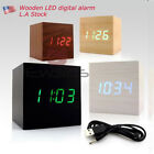 US Voice control Clock Modern Wooden Cube USB Voice Digital Alarm LED display #z
