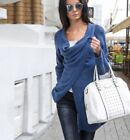 Women Cowl Neck Long Sleeve Solid Top Cardigan Split Wrap Sweater Poncho Blouse
