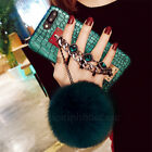 Luxury Rabbit Fur Plush Ball Diamonds Bracelet Case Cover For iPhone 8 6S 7 Plus
