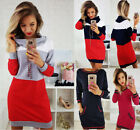 Women Collared Long Sleeve Long Hoodie Ladies Casual Bodycon Short Mini Dress