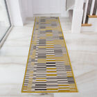 Modern Striped Ochre Yellow Scandi Hallway Runner Long Narrow Hall Runner Rugs