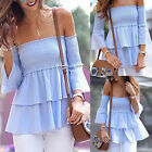 Summer Women Casual Stretchy Flare Sleeve Off shoulder Falbala Tops 2017