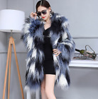 Fashion Womens Fur Shawl Blue asymmetry Coats Loose Party Oversize Warm