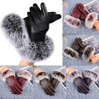 Women Fall Winter Warm Lady Christmas Leather Gloves Rabbit Fur Mittens Outdoor