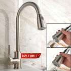 Single Level Handle High Arc Brushed Nickel Pull out Kitchen Faucet Pulldown Tap