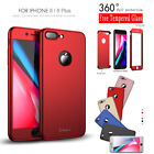 2in1 iPaky 360° Hard Ultra thin Case + Tempered Glass Cover For iPhone 8 8 Plus
