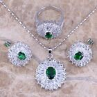 Green Emerald White Topaz Silver Jewelry Sets Earrings Pendant Ring S0105