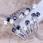 Gracious Black Sapphire Topaz Silver Ring For Women Size 5 6 7 8 9 10 S0227