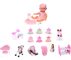 GIRLS BABY DOLL WET NAPPY ACCESSORIES CLOTHING COTS CAR SEAT BUGGY HIGHCHAIR