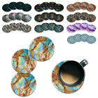 4pc Set Marble Design ROUND Ceramic Stone Coasters Mug Cup Hot Cold Drinks