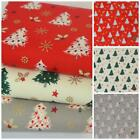 Christmas trees red ivory & grey 100% cotton fabric per 1/2 Metre / Fat quarter