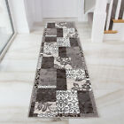Contemporary Grey Beige Patchwork Runner Rugs Long Narrow Brown Soft Hallway Rug
