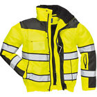 Portwest UC466 HI-VIS Yellow Waterproof Bomber Jacket 300D, ANSI Class 3