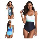 Women One-Piece Swimsuit Vintage Push Up Monokini Beachwear Swimwear Bathingsuit