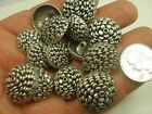 "New Lot of Antique Silver Metal Flower Bud shaped button  7/8"", 3/4, 11/16  #S32"