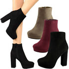 New Women Vegan Suede Leather Ankle Booties Boot Chunky Thick Platform High Heel