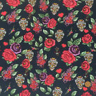 Skulls, roses & hearts black & red Goth/ halloween fabric per 1/2 metre / FQ