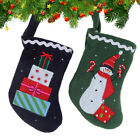 Xmas Stocking Snowmen Present Embroidered Sock Gift Candy Hanging Bag Decor