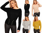 Womens Cable Knitted Lace Up Tied Long Sleeve Off Shoulder Top Ladies Jumper