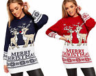 Womens Long Sleeve Round Neck Baggy Merry Reindeer Xmas Ladies Christmas Jumper