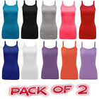 Pack of 2 Women Ladies Girls Plain Ribbed Stretchy Strap Sum