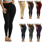 Womens Solid Leggings Stretch Pants Long Full Length One Size Plus 1X 2X 3X