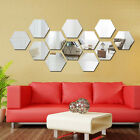12 Pcs 3D Mirror Hexagon Vinyl Removable Wall Sticker Decal Home Decor Art BIUJ