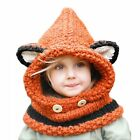 Kids Knitted Wool Hood Scarf Hat Cat Rabbit Bear Girls Boys Beanie Winter Warm