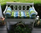 Blue Green Stripe Tufted Cushion Pillow Set for Bench ~Swing~Glider, Choose Size